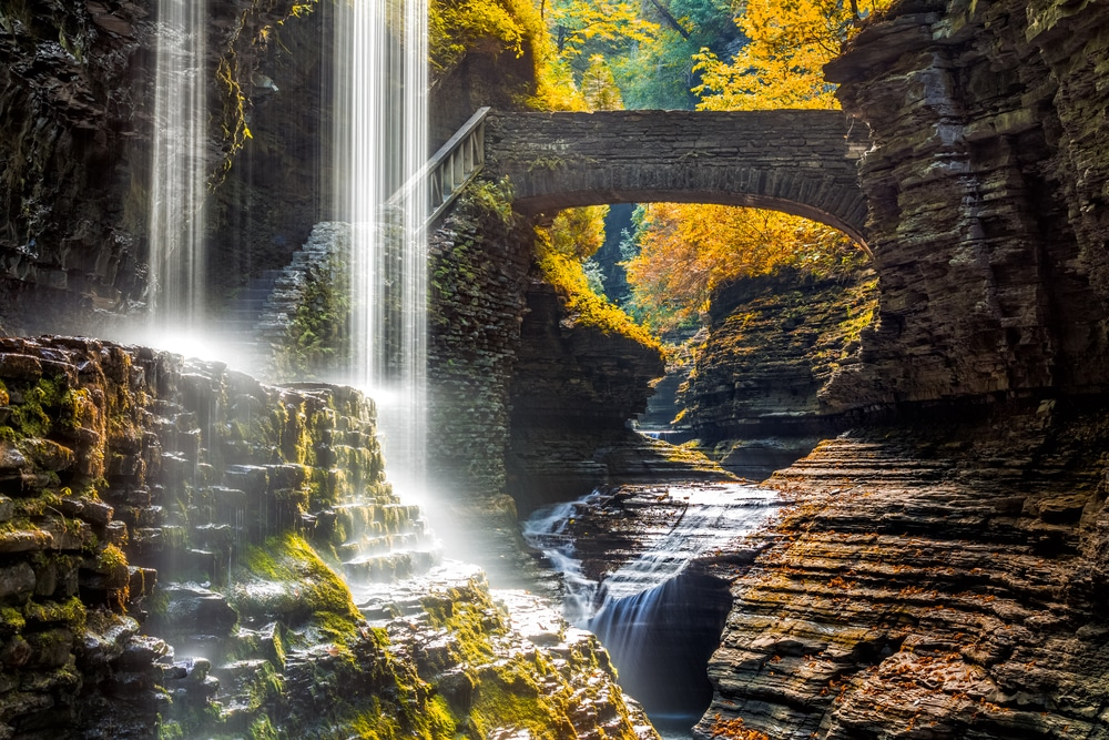 Example of nature: Watkins Glen State Park waterfall canyon in Upstate New York