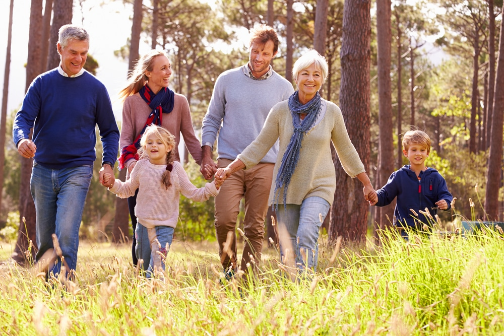 Happy,Multi-generation,Family,Walking,In,The,Countryside